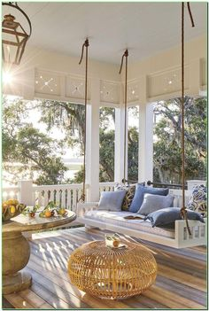 Swing Porch - The 2019 Southern Living Idea House - Beach house decor.Swing Porch - The 2019 Southern Living Idea House - Beach house decor. Love the bedswing from the Original Charleston swing Company, Zuri decking - lo. Southern Living Homes, Country Living, Coastal Living Rooms, Coastal Homes, Southern Front Porches, Farmhouse Front Porches, Southern Living Magazine, Southern House Plans, Coastal Bedrooms