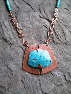 TURQUOISE Necklace Etched COPPER Pendant by andreaswhimsies, $120.00