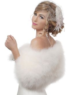 """Ivory Bridal Marabou Feaather Wrap Stole (XS - S). Luxurious and delicate, lush and rich natural marabou feather. Made in USA. Fastens by hook & eye and has a curved ends. 12"""" down to the elbow. One size fits two. Available in XS to 2X sizes. Lining: 100% silk/ Eco-friendly product. Size XS -S 38-39 inches around shoulders."""