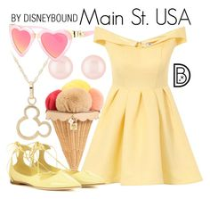 """Main St. USA"" by leslieakay ❤ liked on Polyvore featuring Henri Bendel, Dolce&Gabbana, Chi Chi, Jimmy Choo, disney, disneybound and disneycharacter"