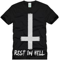 Rest In Hell Satanic Dead Hipster T-shirt Inverted Cross Gothic Style Alternative Pentagram Different Hype Drop Dead Swag Top Men Women