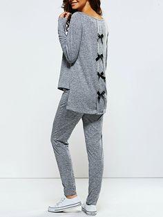 Bowknot Embellished Sports Suit... - Street Fashion