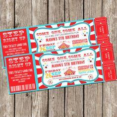 Vintage Circus Carnival Invitation - Ticket Invitation - Carnival Circus Birthday Party - DIY Printable