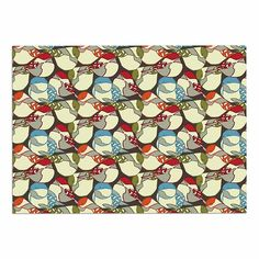 KESS InHouse Amy Reber 'Chickadees' Red Blue Dog Place Mat, 13' x 18' -- Hurry! Check out this great product : Dog food container