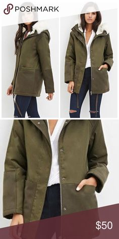 db02616cb757 ✳️F21 Faux Shearling Parka 💕New with tags💕 Forever 21 Faux Shearling Olive  Parka