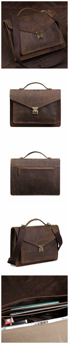 ROCKCOW Men's Full Grains Leather Front Lock Professional Briefcase 0189
