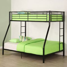Twin-Over-Full Premium Metal Bunk Bed, Black
