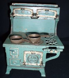 Antique Toy Blue Bird Cook Stove Cast Iron with Burners and Pots  Offered by Barntiques859 on Bonanza.com