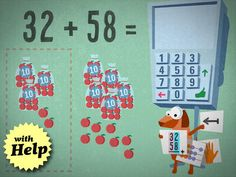 Master addition and subtraction with math whizzes Robin and Dob. 10 levels of each, addition & subtraction, no customizing. The dog pops up when you've taken too long and offers help in the form of an abacus, tens and ones place value chart with apples or the problem stacked instead of horizontal. Adorable!