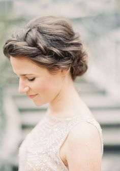 Crown Braid Chignon Tutorial for the DIY bride. hairstyle guide magazine Crown Braid Chignon Tutorial - Once Wed Braided Chignon, Side Bun Hairstyles, Braided Hairstyles For Wedding, Pretty Hairstyles, Hairstyle Ideas, Updo Hairstyle, Braided Buns, Hair Ideas, Prom Hairstyles