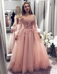 Princess Ball Gown Blush Pink Lace Prom Dresses With Long Sleeves – Okdr. - Princess Ball Gown Blush Pink Lace Prom Dresses With Long Sleeves – Okdresses Source by - Senior Prom Dresses, Prom Dresses With Sleeves, Cheap Prom Dresses, Maxi Dresses, Formal Dresses, Party Dresses, Prom Gowns, Long Lace Prom Dresses, Casual Dresses