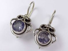 Unique sterling silver iolite earrings