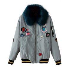 Faux Fur Collar Patch Jacket