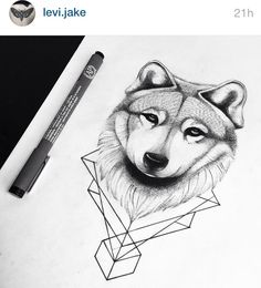 Wolf #wolf #girl #tattoo #tats #ink #tats #doodle #draw #dots #lines #ink #girl #tattoed #animal