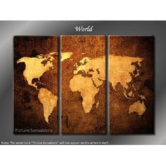 Framed Huge 3 Panel Modern Canvas Art World Map Giclee Canvas Print.  For a masculine room and could work in a study as well.