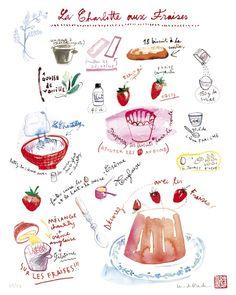 Food art French cake recipe - Strawberry pastry - La charlotte aux fraises -  8X10 print - Kitchen illustration. $25.00, via Etsy.