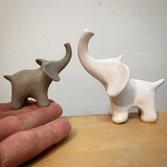 When life gives you scraps, make elephants..... Ceramic Elephants by Shelly Fredenberg