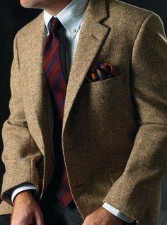 #classic #casual #sexy #tweed #jacket #tie ♥