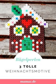 Tinker with children for Christmas: Advent- Mit Kindern basteln zu Weihnachten: Advent Beautiful Beading Template Hama perler Beads for Christmas: gingerbread house and more - Christmas Perler Beads, Diy Perler Beads, Beaded Christmas Ornaments, Perler Bead Art, Christmas Crafts, Christmas Gingerbread, Melty Bead Patterns, Hama Beads Patterns, Beading Patterns