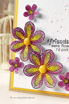Flower Card by Wanda Guess | Beautiful Blossoms stamp set by Newton's Nook Designs