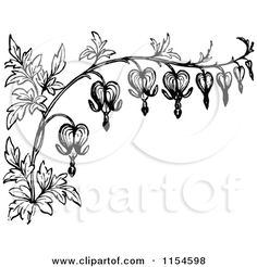 Clipart of a Retro Vintage Black and White Border of Bleeding Heart Flowers - Royalty Free Vector