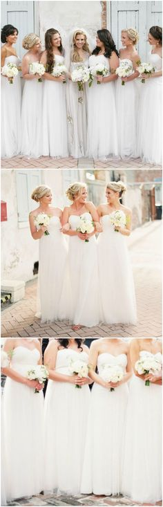 Bridesmaids in white, long dresses, organza, strapless, sweetheart neckline, wedding fashion // Greer Gattuso Photography