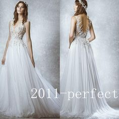 2015 Fashion Zuhair Murad Embiodery Lace New Bridal Wedding Dresses Bridal Gowns