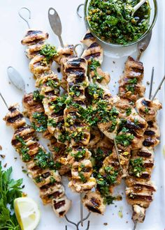 Take your summer entertaining to the next level with this simple, but oh-so-flavorful grilled chicken kebab recipe topped with vibrant pistachio gremolata. Healthy Recipes For Diabetics, Heart Healthy Recipes, Healthy Dinner Recipes, Diabetic Recipes, Healthy Meals, Lean Meat Recipes, Pre Diabetic, Diabetic Snacks, Healthy Nutrition