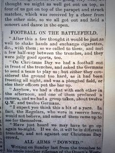 'Football on the battlefield' @dailytelegraph report of Christmas 1914 from 'a rifleman of the Queen's Westminsters' pic.twitter.com/h5whD8bZ5g
