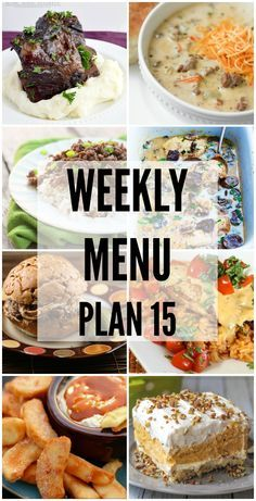 Menu Plan 15 Weekly Menu Plan - a great collection of recipes to help you with your weekly menu! Get the recipes on { }Weekly Menu Plan - a great collection of recipes to help you with your weekly menu! Get the recipes on { } Weekly Menu Planning, Budget Meal Planning, Family Meal Planning, Budget Meals, Planning Board, Meal Planing, Food Budget, Frugal Meals, Easy Meals