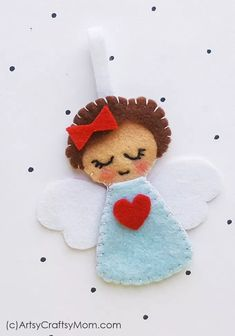 Felt Angel Christmas Ornament Craft Add a heavenly touch to your Christmas decorations with this cute little Felt Angel Christmas Ornament. Make them in different colors to gift or keep! Christmas Angel Crafts, Felt Christmas Decorations, Beaded Christmas Ornaments, Diy Ornaments, Homemade Christmas, Glass Ornaments, Christmas Poinsettia, Crochet Ornaments, Crochet Snowflakes