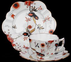 WILEMAN FOLEY CHINA RARE  BIRDS NEST DESIGN  TRIO, DAISY SHAPE