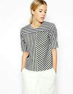 Sail To Sable Women's Stripe Blouse - Navy - Xl Kurti Neck Designs, Blouse Designs, Simple Tunic, Blouse Simple, Sewing Blouses, Asos Tops, Beautiful Blouses, Blouse Dress, Casual Tops