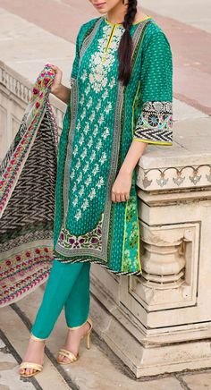 Buy Teal Green #Embroidered Cotton Lawn Dress by Khaadi 2016 Contact: 702-7513523 Email: info@pakrobe.com Skype: PakRobe