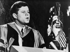 JFK giving commencement speech