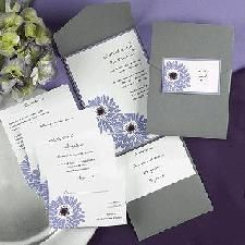 Dizzy Daisies A bright white invitation is layered on top of a lavender backer. A contemporary daisy design is featured. The pewter pocket is perfect for Inexpensive Wedding Invitations, Wedding Invitation Size, Pocket Wedding Invitations, Invites, Pocket Invitation, Invitation Kits, Daisy Wedding, Farm Wedding, Dream Wedding