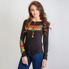 """Women's long sleeve black shirt with real embroidery """"Poppy and wheat"""" Sizes XS -3XL"""