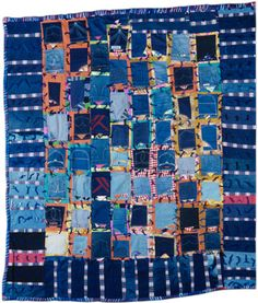 Blue Jean Pockets Quilt, made by Essie Lee Robinson, 1990