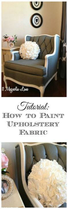 Tutorial: How to Paint Upholstery Fabric and Completely Transform a Chair! Easy, step by step tutorial for taking a dated thrift store chair and transforming it by painting the upholstery with fabric medium and paint. Add rhinestones to the buttons for ex Painting Fabric Furniture, Paint Upholstery, Upholstered Furniture, Paint Furniture, Furniture Projects, Furniture Design, Paint Fabric, Diy Painting, Furniture Stores