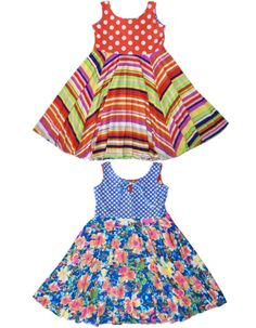Adorable girls reversible dresses from TwirlyGirl.  This is the Reversible Racer Dress and comes in many versions.  Click to see our new line.