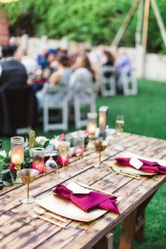 Gold and berry wedding table decor: http://www.stylemepretty.com/california-weddings/topanga-canyon/topanga/2016/08/25/romantic-whimsical-spring-wedding/ Photography: Aga Jones - http://www.agajonesphotography.com/