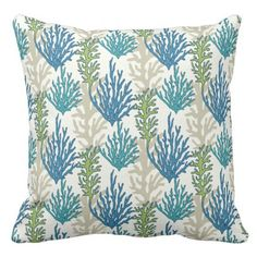 Coral Seaweed Pattern throw pillows - cool gift idea unique present special diy