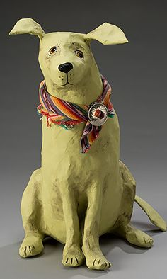 Dog Mâché sculpture - reminds me of the black and white one Skye made that her pet rats chewed on. Paper Mache Projects, Paper Mache Clay, Paper Mache Sculpture, Paper Mache Crafts, Dog Sculpture, Animal Sculptures, Paper Mache Animals, Paperclay, Art Plastique