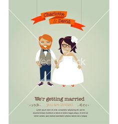Hipster wedding invitation card vector on VectorStock®
