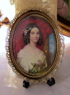 Antique Ornate Oval Picture Frame with Victorian Lady Signed |