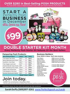 Wow! Now, THAT'S a starter kit!  DOUBLE the products, PLUS the home office recently launched a new online training program that you can access for FREE for priceless advice!  Join today!  Contact me! www.perfectlyposh.us/sarah