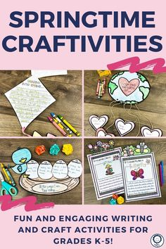 You will receive 87 pages of spring craftivity and writing templates. There are multiple craftivities and writing prompts included. Each writing prompt comes with two different line sizes to meet your classroom needs. Perfect for kindergarten, 1st, 2nd, 3rd, 4th, and 5th grade! #springtime #spring #craftivities