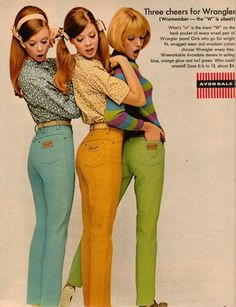 "1960s Wrangler jeans advertisement... I had similar orange jeans in the late 60s-early 70s. I often wore them with an orange sweatshirt emblazoned with Snoopy in pilot gear, flying his Sopwith Camel Doghouse, exclaiming, ""Curse you, Red Baron!"" Wish I had that now!"