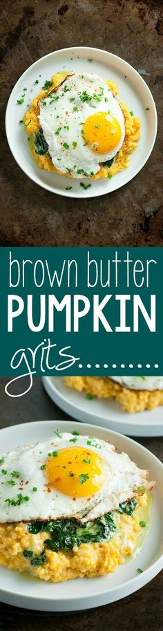 Creamy grits swirled with brown butter and pumpkin, these Brown Butter Pumpkin Grits are amazing!