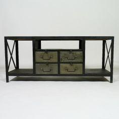 meuble tv acier style indus 3 portes hiba la redoute interieurs la redoute petit cran. Black Bedroom Furniture Sets. Home Design Ideas